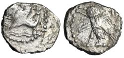 "Ancient Coins - Phoenicia, Tyre AR 1/16 Shekel ""Hippocamp & Owl, Crook & Flail"" Fine"