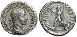 """Ancient Coins - Severus Alexander AR Denarius """"PAX AVG Pax Running"""" 226 AD VF Toned"""