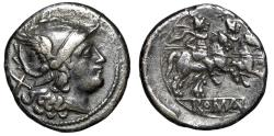 "Ancient Coins - Roman Republic Anonymous AR Denarius ""Helmeted Roma & Dioscuri Horseback"" VF"