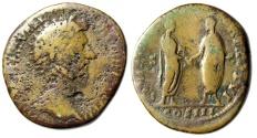 "Ancient Coins - Marcus Aurelius Sestertius ""CONCORD AVGVSTOR With Verus Clasping Hands""RIC 826"