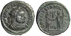 "Ancient Coins - Maximianus Herculius AE Radiate ""Concordance of the Military"" Heraclea About EF"