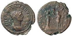 "Ancient Coins - Aurelian AE As ""CONCORDIA AVG Emperor and Empress"" 275 AD Rare VF"