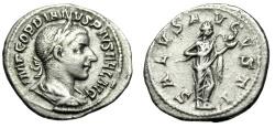 "Ancient Coins - Gordian III Silver Denarius ""SALVS AVGVSTI Salus Feeding Snake"" RIC 129a Good VF"