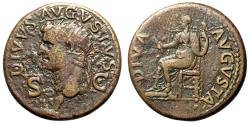 "Ancient Coins - Augustus AE Dupondius ""Livia Enthroned, Corn & Torch"" Under Claudius Scarce"