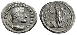 "Ancient Coins - Maximinus I Thrax Silver Denarius ""VICTORIA GERM Victory, Captive"" RIC 23 gVF"