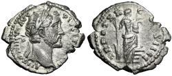"""Ancient Coins - Antoninus Pius AR Denarius """"Annona on Prow, Modius"""" Rome 156-157 AD Good VF"""