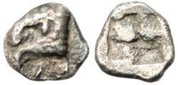 "Ancient Coins - Aeolis, Kyme Silver Hemiobol ""Eagle Head Left & Quadripartite Incuse"" Ext Rare"