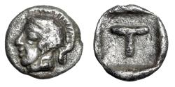 "Ancient Coins - Arcadia Tegea AR Tetartemorion ""Helmeted Athena & T in incuse Square"" Choice gVF"