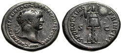"Ancient Coins - Trajan AE Dupondius ""SPQR OPTIMO PRINCIPI Trophy, Shields"" RIC 586 Good Fine"