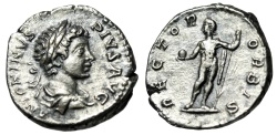 "Ancient Coins - Caracalla Silver Denarius ""RECTOR ORBIS Sol, Globe & Spear"" Rome RIC 141 gVF"