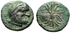 "Ancient Coins - Crete, Axos (Axus) AE18 ""Zeus & Winged Thunderbolt"" About VF Rare"