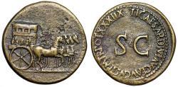 """Ancient Coins - Tiberius AE Sestertius """"Ornamented Quadriga & SC"""" Rome RIC 66 Rare VF"""