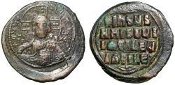 "Ancient Coins - Byzantine Empire Christ Follis ""Facing Portrait & King of Kings Legends"" gVF"