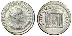 """Ancient Coins - Trebonianus Gallus AR Antoninianus """"SAECVLLVM NOVVM Roma in Temple"""" Antioch"""