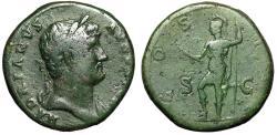 "Ancient Coins - Hadrian AE Sestertius ""COS III SC Virtus, Foot on Helmet"" Rome Mint Green Patina"