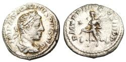 "Ancient Coins - Elagabalus Silver Denarius ""Victory Flying, Shield at Feet"" Rome RIC 45 VF"