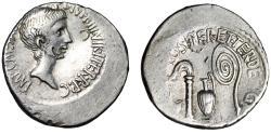 "Ancient Coins - Octavian, Triumvir AR Denarius ""Emblems of Augurate & Pontificate"" VF"