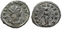 "Ancient Coins - Gallienus AE Antoninianus ""FORTVNA REDVX Fortuna, Rudder"" Rome 265 AD EF"