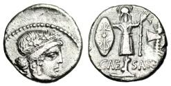 """Ancient Coins - Julius Caesar Silver Denarius """"Gallic Trophy, Shield & Axe"""" 48 BC Choice Near EF"""