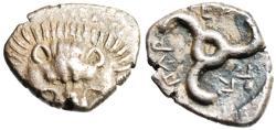 "Ancient Coins - King of Lycia Parikla (Perikles) Silver AR Tetrobol ""Facing Lion Scalp & Triskeles"" RARE EF"