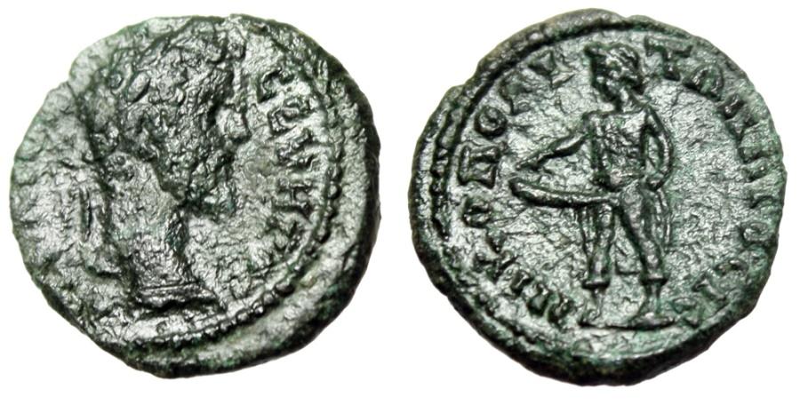 """Ancient Coins - Septimius Severus AE17 """"Priapus, Large Erect Phallus"""" Moesia, Nicopolis VF Rare"""
