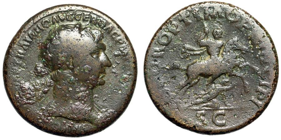 "Ancient Coins - Trajan AE Sestertius ""SPQR OPTIMO PRINCIPI SC Horseback, Spearing Dacian"""