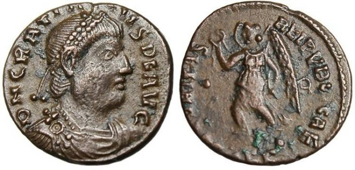 """Ancient Coins - Gratian, AE3 """"Victory"""" Thessalonica RIC 27c Scarce"""