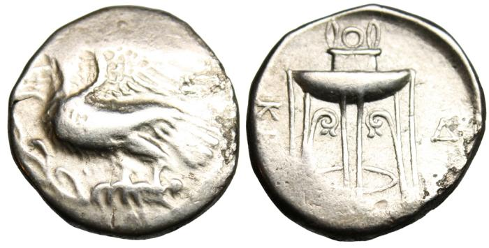 """Ancient Coins - Bruttium, Kroton Silver AR Stater """"Eagle on Olive Branch, Tripod"""" nVF"""