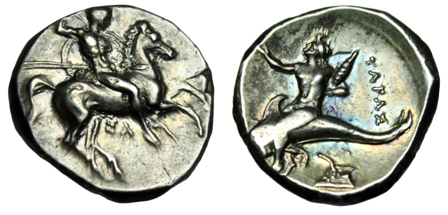"Ancient Coins - Calabria Tarentum AR Nomos ""Warrior Horse & Boy Phalanthos on Dolphin, Prow"" nEF"