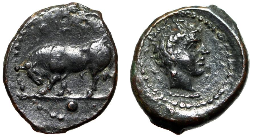 "Ancient Coins - Sicily, Gela AE13 Onkia ""Bull Butting Left & River-god Gelas"" Near EF"