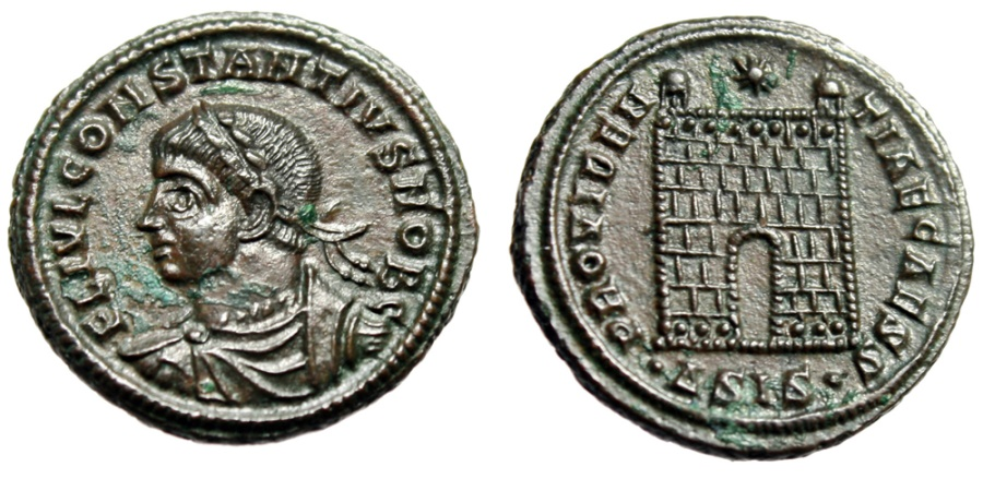 "Ancient Coins - Constantius II Caesar ""Campgate, Pellets"" Siscia RIC 203 Near FDC Mint State"