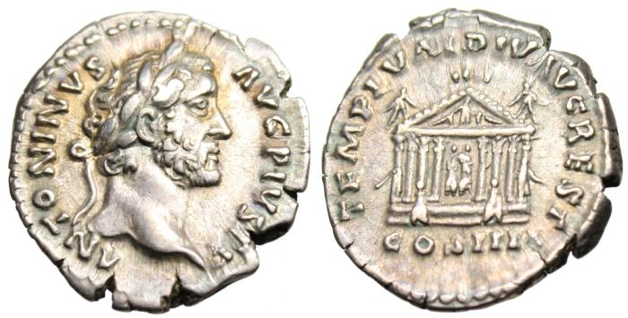 """Ancient Coins - Antoninus Pius Silver  Denarius """"Temple Augustus & Livia"""" RIC 143 Rare gVF"""
