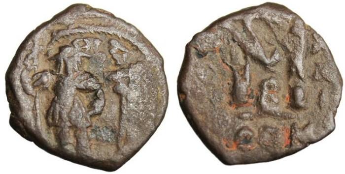 Ancient Coins - Heraclius & Heraclius Constantine, AE Follis Constantinople SB 810 Scarce