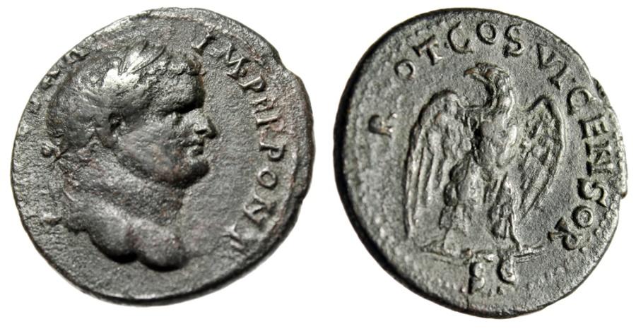 "Ancient Coins - Titus AE As ""Eagle on Thunderbolt"" Ionia, Ephesos Mint RIC 1512 Very Rare gVF"