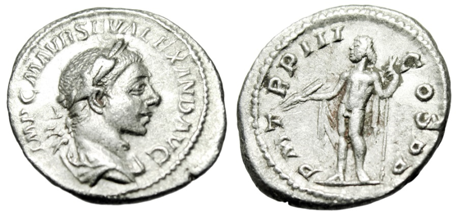 """Ancient Coins - Severus Alexander Silver Denarius """"Jupiter, Thunderbolt"""" Rome 224 AD RIC 35 VF"""
