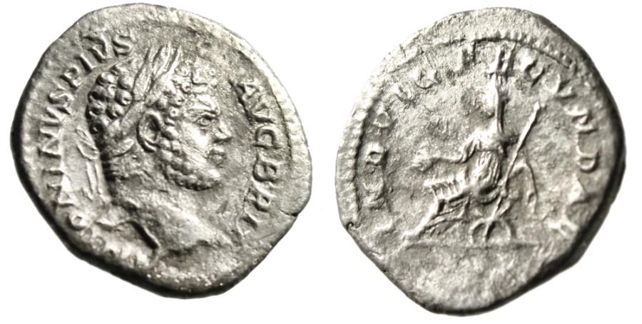 """Ancient Coins - Caracalla AR Denarius """"INVLG FECVNDAE Indulgentia Seated"""" RIC 214 Scarce"""