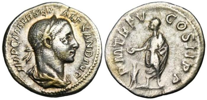 "Ancient Coins - Severus Alexander, AR Denarius ""Sacraficing Over Altar"" RIC 55 VF"