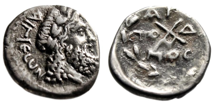 """Ancient Coins - Achaian League, Aigion AR Hemidrachm """"Zeus & Monogram"""" Good VF Scarce"""