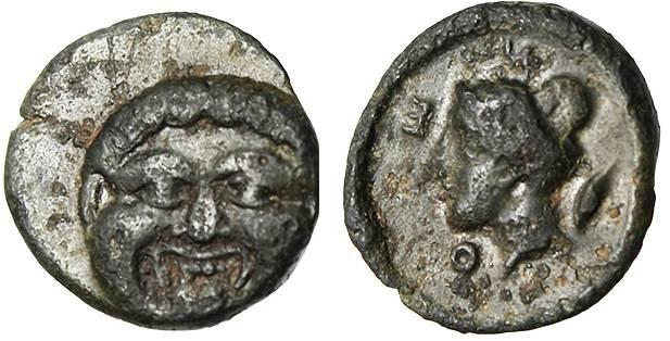 "Ancient Coins - Macedonia, Neapolis ""Gorgon Facing & Nike Head"" RARE Variety EF"