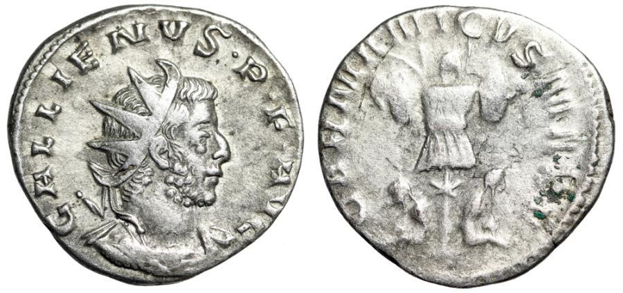"Ancient Coins - Gallienus AR Antoninianus ""GERMANICVS MAX V Trophy & Bound Captives"" aVF"