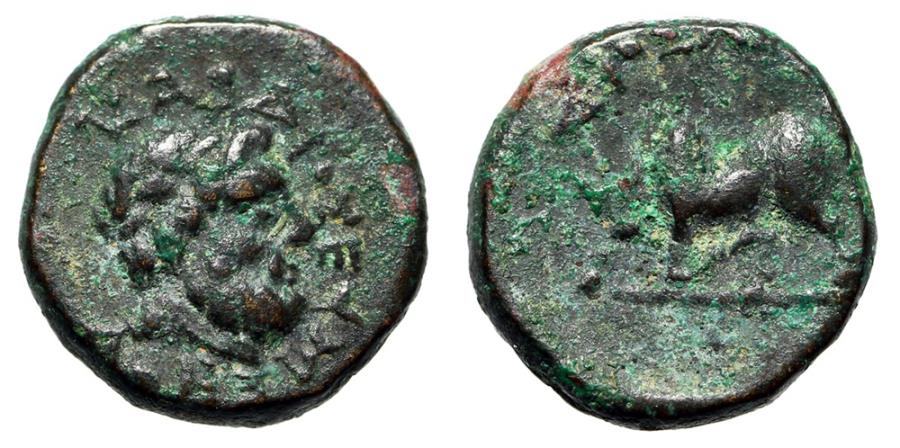 "Ancient Coins - Lydia, Tralles AE11 ""Zeus Larasios & Humped Bull Butting"" Very Rare gVF"