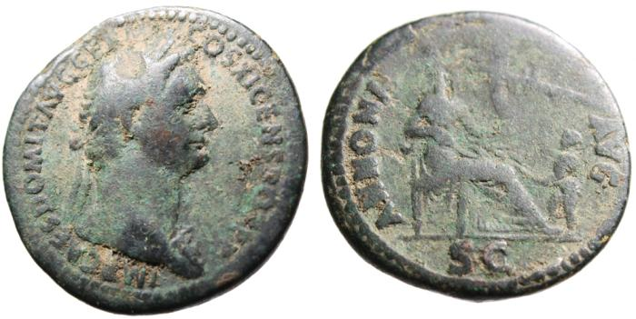 "Ancient Coins - Domitian AE As ""Annona Seated, Figure & Stern of Ship"" Rome RIC 485 SCARCE"