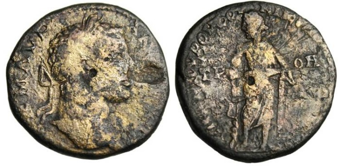 """Ancient Coins - Caracalla AE24 """"Asklepios With Serpent Staff"""" Moesia, Nicopolis"""