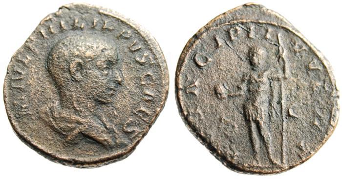 "Ancient Coins - Philip II Caesar AE Sestertius ""PRINCIPI IVVENT, Spear & Globe"" RIC 256a Scarce"