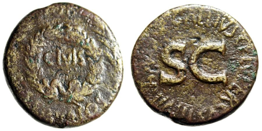 """Ancient Coins - Augustus Sestertius """"OB CIVIS SERVATOS, C Gallius Lupercus"""" Rome 16BC RIC 377"""