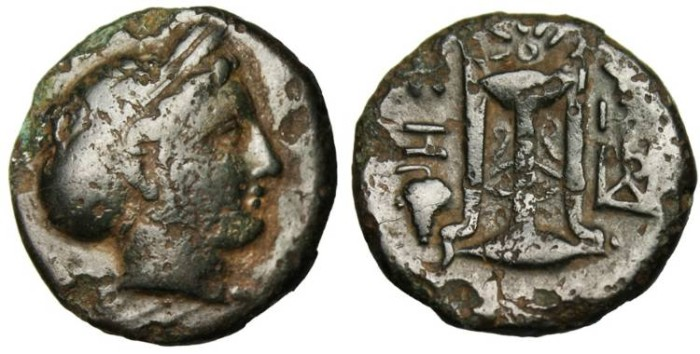"Ancient Coins - Mysia, Kyzikos AE 17 ""Kore Soteira & Tripod on Tunny Grape Bunch"" Scarce Variant"