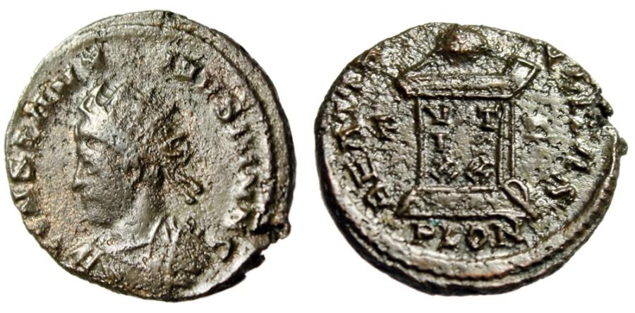 "Ancient Coins - Constantine II Caesar ""Radiate Bust & Globe on Altar"" London Mint RIC 255"