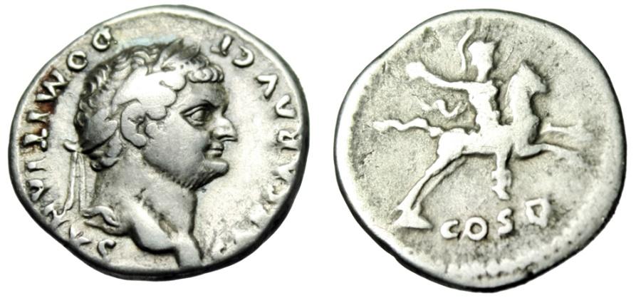 "Ancient Coins - Domitian as Caesar Silver Denarius ""COS V Emperor on Horseback"" RIC 957 Scarce"