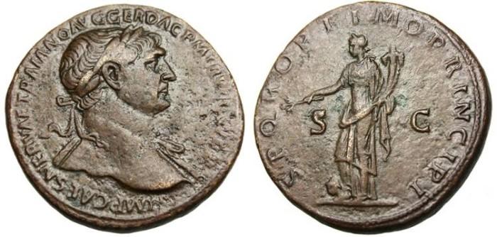 "Ancient Coins - Trajan, AE Sestertius ""Pax Stomping Dacian"" Rome RIC 503 VF"