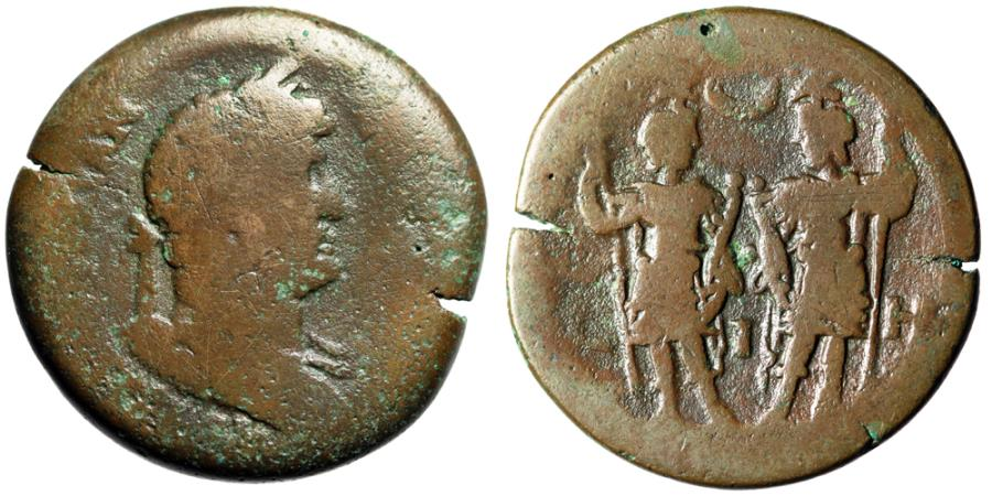 "Ancient Coins - Hadrian AE Drachm ""The Dioscuri Standing, Crescent"" RY 18 Alexandria, Egypt"